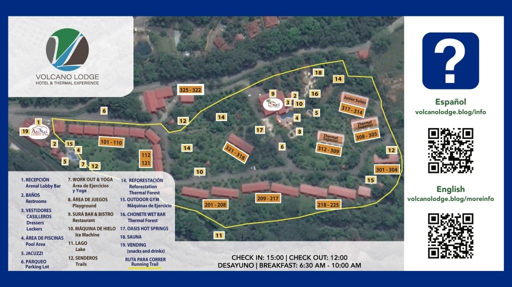 Mapa Volcano Lodge
